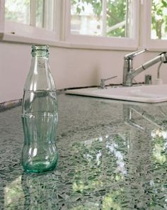 Vetrazzo recycled glass countertops in Hollywood Sage. I love the shimmering glass look. Edgy, and more unique than classic countertops. Recycled Glass Countertops, Concrete Countertops, Kitchen Countertops, Green Countertops, Kitchen Redo, Kitchen And Bath, New Kitchen, Glass Kitchen, Recycling