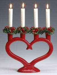Swedish Candleholders > Christmas Heart Candelabra, red This grand ceramic centerpiece candleholder uses standard-base candles (fou Swedish