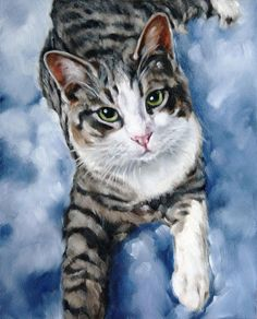 Pet Portrait Cat Portrait Animal Art Custom Paintings by cmqstudio, $135.00