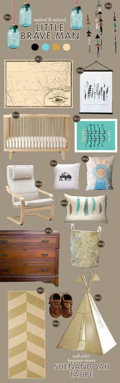 A rugged but sleek 'man' nursery. Lay Baby Lay: little brave man.I have a handmade vintage looking drum that would fit perfectly in this room! Nursery Themes, Nursery Room, Kids Bedroom, Nursery Decor, Nursery Ideas, Themed Nursery, Babies Nursery, Decor Room, Nursery Design