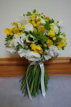 Very Pretty Rustic/Country/Shabby Chic Hand Tied Wedding Bouquet: White Ranunculus, White Anemones, White Sweet Pea, Yellow Freesia, Yellow Tulips, Yellow Craspedia (Billy Balls), Yellow Button Mums, Green Bupleurum & Greenery/Foliage>>>>
