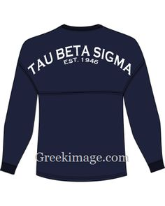These licensed Tau Beta Sigma jerseys are so comfortable! Made of 100% cotton and screen printed.  Jerseys are on order and a FEW extras have been ordered!  We can help you with your chapter order. Oversized jerseys are great for showing off your chapter loyalty!    Tau Beta Sigma jersey in Navy with White writing and Crest on front.