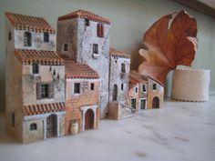 Little row of porcelain Gault houses