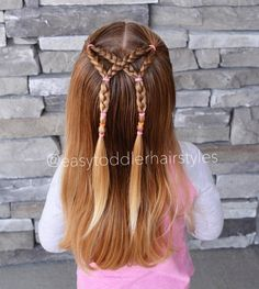 "413 Likes, 11 Comments - Tiffany ❤️ Hair For Toddlers (@easytoddlerhairstyles) on Instagram: ""Half up style with crossed Braids and elastic accents. This is a quick one, 5-7 minutes!"""