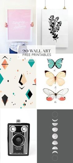 We've rounded up our favorite wall art free printables – From modern art to vintage botanical to prints that work in kid's rooms. #artprojects
