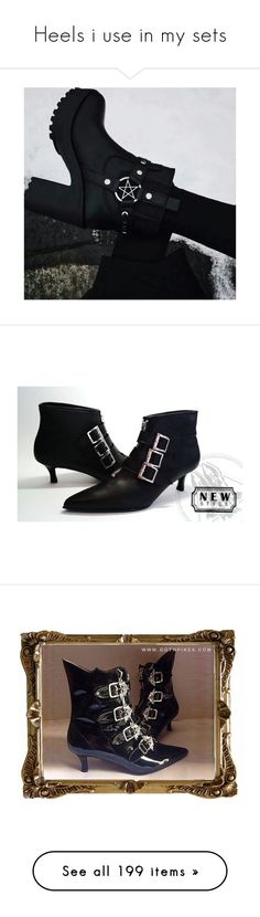 """""""Heels i use in my sets"""" by meganlovesmarilynmanson ❤ liked on Polyvore featuring shoes, boots, ankle booties, black zipper booties, black buckle boots, vegan booties, black leather booties, leather booties, vegan boots and leather buckle boots"""