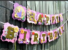 Your place to buy and sell all things handmade Rapunzel Birthday Party, Tangled Party, Disney Birthday, One Year Birthday, 4th Birthday Parties, Creative Banners, Purple Ribbon, Party Themes, Charlotte