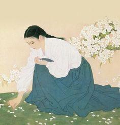 Art by He Jiaying - Rosie Chuong Korean Painting, Japanese Painting, Chinese Painting, Japanese Art, Oriental, Family Tree Art, Inspiration Artistique, China Art, Korean Art