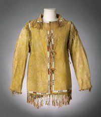 American Indian Art:Beadwork and Quillwork, A SIOUX MAN'S PICTORIAL BEADED AND FRINGED HIDE JACKET. c. 1890...