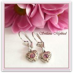 """Boucles d'oreilles """" Cœur"""" (rose) sur des supports dormeuses . : Boucles d'oreille par perles-et-couronnes"""