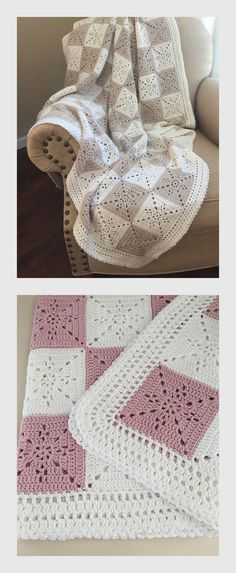 Beautiful Crochet Baby Blanket or Throw Pattern by Deborah O'Leary Patterns   We love these delicate granny squares, and the eyelet detailing is so cute!