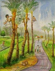Fields In Arts, Indian Art Paintings, Landscape Paintings, Art Drawings For Kids, Art Village, Nature Drawing, Watercolor Landscape Paintings, Art, Canvas Art Painting