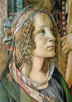 Sandro Botticelli (1 de marzo de 1445, Florencia, Italia - 17 de mayo de 1510, Florencia, Italia), Simnetta Vespucci, detail Sta Catarina. Corriente artística Escuela Florentina, Renacimiento Italiano