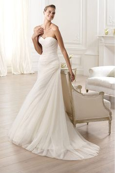 2015 Slim Wedding Dress Sweetheart Sheath/Column Court Train With Ruffles
