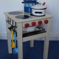 turn an old table into a play stove.