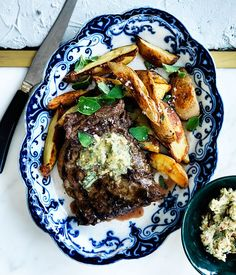 Skirt steak with pepita-lime butter and roasted potatoes :: Gourmet Traveller