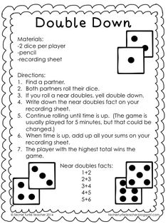 Techie Turtle Teacher: freebie - double down dice game for near doubles addition strategy Math Doubles, Doubles Facts, Doubles Song, Math Card Games, Dice Games, Recess Games, Fun Math, Math Activities, Easy Math