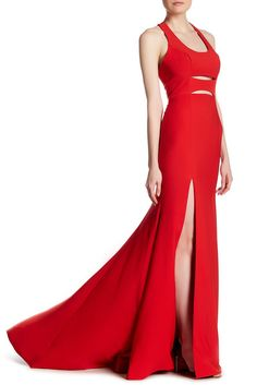 Image of TERANI COUTURE Slit Cutout Gown