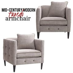 Love the Mid-Century Modern style with this sleek arm chair in textured latte upholstery with piping. It features smooth lines and unmistakable details such as button tufting, sinuous wire springs, solid hardwood legs in espresso finish, and double-doweled and corner-blocked frame. It also includes matching toss pillow with piping trim to complete the modern look.