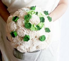 Cream rustic wedding BOUQUET Ivory/Green Flowers, Burlap Handle, Flower-girl, Bridesmaids,sola roses vintage wedding cream green custom - pinned by pin4etsy.com