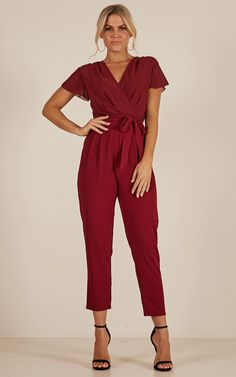 Showpo No Limits jumpsuits in wine - 14 (XL) Work Dresses