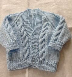 Hand knitted cable v neck cardigan - new baby - newborn