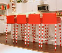 Make candy-cane red and white striped chair legs with washi tape!