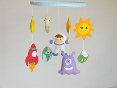 "Planets Mobile Baby Crib Mobile Solar Systems mobile Space nursery mobile Earth Stars Moon Planets Nursery Decor Rocket Ship Mobile. This Planets Mobile is hand made from scratch, hand-cut, hand-sewn each item with quality wool felt and lightly filled. The toys are all supported on a wooden hoop covered in ice blue felt. The approximate measurements are: Wooden Hoop 8,6"" (22 cm) star 2"" toy 3.5''-4'' (9-10 cm)."