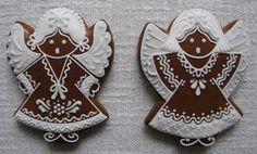 andílci Gingerbread Cookies, Christmas Cookies, Angel Cookies, Galletas Cookies, Creative Lettering, Royal Icing, Christmas Decorations, Cupcakes, Sweet
