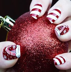 2013 Christmas candy cane nails, Christmas candy cane nails design in 2013  www.loveitsomuch.com