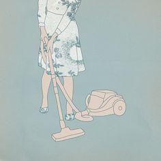 Illustration Collage Woman Hoovering Vintage Dress