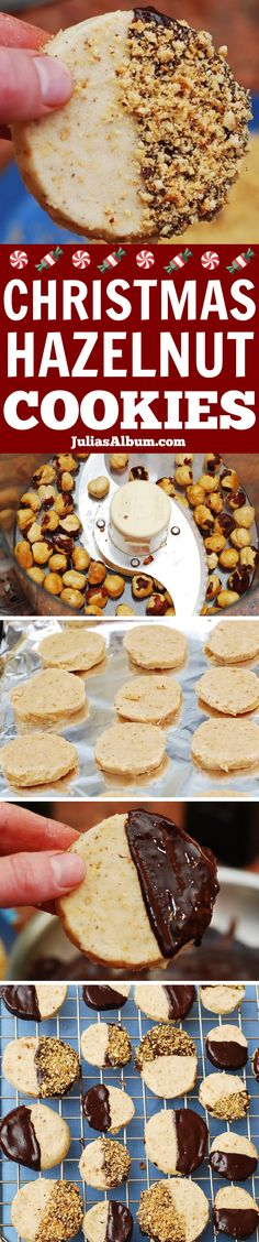 Chocolate covered hazelnut shortbread cookies #Christmas #holidays