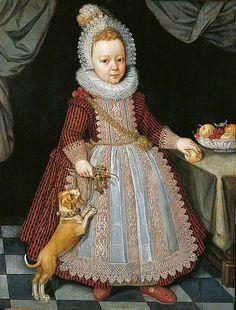 1611 Paulus van Somer (Flemish artist, c. 1577 -1621) Child with a Rattle, Fruit, & a Dog