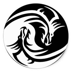 Tribal Dragon Yin Yang Sticker | Zazzle