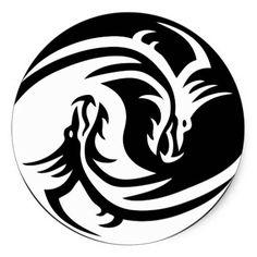 Tribal Dragon Yin Yang Sticker | Zazzle