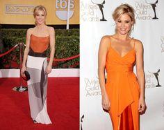 Блондинка со средним контрастом по светлоте в платьях с разным контрастом