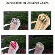 Our cushions on Unstained Adirondack Chairs. Adirondack Chair Cushions, Welcome Gifts, Chair Covers, Patio, Handmade, Accessories, Furniture, Color, Design