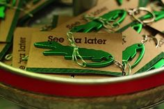 See ya later, Alligator!  Alligator key ring party favors.