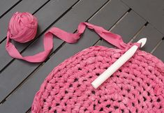 Crochet with old sheets as yarn and a giant hook- for floor rugs (gorgeous color!)