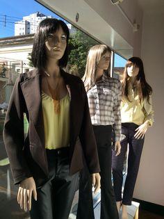 Vitrine Closet Mulher Blazers alfaiataria marrom, top amarelo, alfaiataria, camisa xadrez, camisa tricoline Inverno 2015