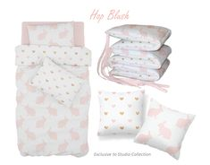 For a classic Pink Bunny theme, with a touch of Gold, our Hop Blush bedding is perfect for any little girl's nursery!