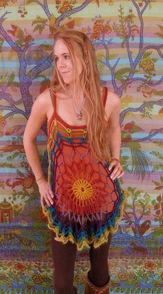 Bohemian crochet mandala tunic rainbow