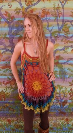 Bohemian crochet mandala tunic- rainbow I love it but i would love it more if it wasnt rainbow