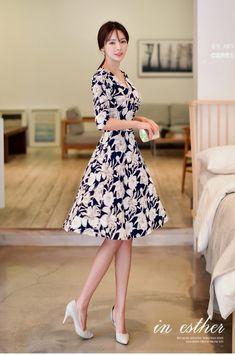 d75350b55793f 40代ファッション ワンピース 服 きれいめ レディース 花柄 フラワー ボタニカル カシュクールワンピース フレア 女性