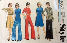 1970s casual separates Style 1060 vintage sewing pattern Bust 32.5 Waist 25 Hip 34.5 Retro 70s boho hippie chic dress tunic top and trousers by 101VintagePatterns on Etsy