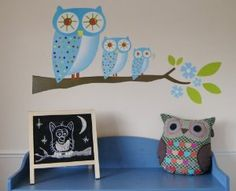 BLUE OWL TRIO with Blue Flowers & Plain Green Leaves. Large Childrens Wall Stickers for Boy or Girls Bedroom or Childrens Playroom (Kids Stickarounds): Amazon.co.uk: Kitchen & Home
