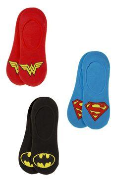 Primark - 3 Pack Super Hero Shoe Liner Socks Batman Superman Wonder Woman BatmanvSuperman