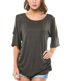 Look at this Charcoal Cutout Top on #zulily today!