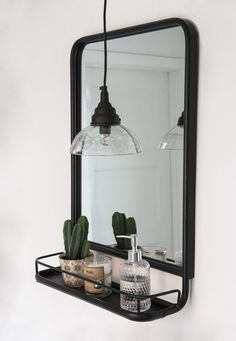 Black Metal Mirror with Shelf No need to tell you how much we rate this mirror. Perfect for modern and traditional bathrooms. Love this look a lot. Bathroom Mirror With Shelf, Black Wall Mirror, Metal Mirror, Round Wall Mirror, Wall Mirror Ideas, Bathroom Vanities, Wall Mirror And Shelf, Shiplap Bathroom, Mirror Bedroom