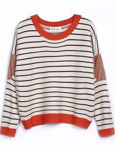 Beige Contrast Leather Long Sleeve Striped Sweater - Sheinside.com
